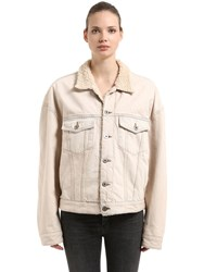 Yeezy Classic Faux Shearling And Denim Jacket Beige