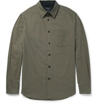 Rag And Bone Cotton Wool Blend Twill Shirt Gray Green