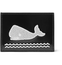 Thom Browne Whale Appliqued Polished Leather Cardholder Black