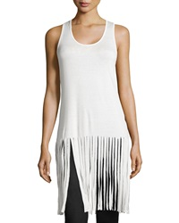 Romeo And Juliet Couture Long Fringe Trim Tank Ivory