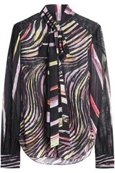 Zuhair Murad Pussy Bow Printed Silk Voile Blouse Black