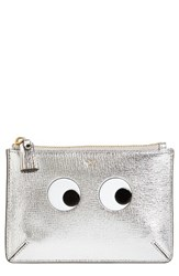 Anya Hindmarch Women's Eyes Leather Zip Pouch Grey Silver