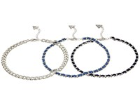 Guess 3 Row Choker Necklace Set With Woven Chain Silver Light Dark Denim Blue Necklace Multi