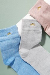 Anthropologie M. Moustache Pack Of Three Metallic Socks Blue
