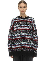 R 13 Distressed Wool Intarsia Knit Sweater Multicolor
