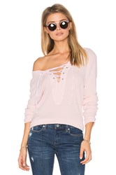 Michael Stars Lace Up Pullover Pink