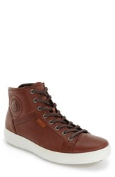 Ecco Men's 'Soft 7' High Top Sneaker Mahogany Leather