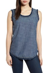 Kenneth Cole New York Frayed Chambray Tank Textured Navy