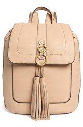 Cole Haan Cassidy Rfid Pebbled Leather Backpack Beige Nude
