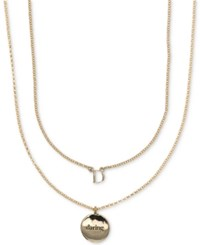 Ivanka Trump Gold Tone 2 Pc. Set Initial And Disc Pendant Necklaces Crystal D
