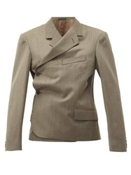 Martine Rose Double Breasted Wrap Wool Blazer Brown