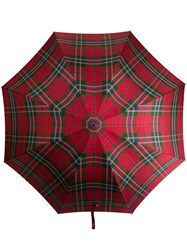 Alexander Mcqueen Tartan Print Umbrella Red