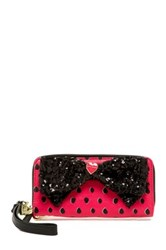 Betsey Johnson Double Bow Zip Around Wristlet Pink
