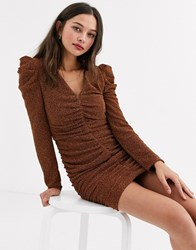 Moon River Ruched Sparkle Mini Dress Brown