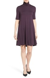 Karen Kane Women's 'Maggie' Turtleneck Trapeze Dress Eggplant