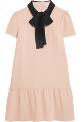 Red Valentino Redvalentino Pussy Bow Silk Trimmed Crepe De Chine Mini Dress Pink