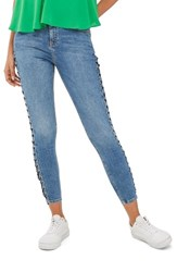 Topshop Women's Jamie Side Lace Up Ankle Skinny Jeans Mid Denim
