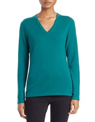 Lord And Taylor Plus Merino Wool Basic V Neck Sweater Jade Green