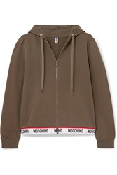 Moschino Intarsia Trimmed Stretch Cotton Fleece Hoodie Army Green
