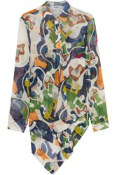 Msgm Asymmetric Printed Silk Chiffon Blouse Green