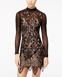 Material Girl Juniors' Illusion Lace Bodycon Dress Only At Macy's Caviar Black