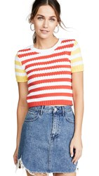Alice Olivia Ciara Short Sleeve Cropped Cable Sweater Multi