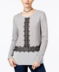Maison Jules Lace Trim Contrast Top Only At Macy's Grey