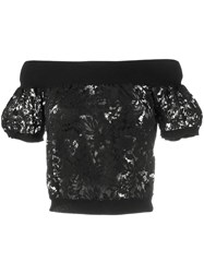 Valentino Off The Shoulder Lace Top Black