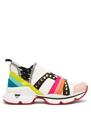 Christian Louboutin 123 Run Studded Low Top Trainers White Multi
