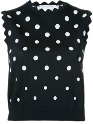 Oscar De La Renta Cropped Polka Dot Top Blue