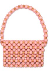 Vanina Bolero Beaded Wooden Shoulder Bag Pink