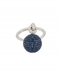 Mariani Bellagio Diamond And Blue Sapphire Dangling Ball Ring In 18K White Gold