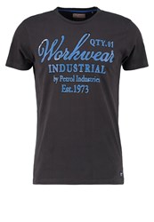 Petrol Industries Print Tshirt Steal Anthracite