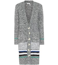 See By Chloe Striped Cotton Blend Cardigan Grey