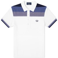 Fred Perry Toweling Striped Polo White