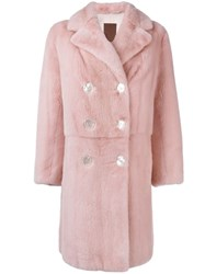 Liska Mink Fur Coat Pink And Purple