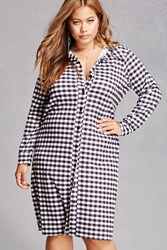 Forever 21 Pink Clove Plaid Shirt Dress Black White