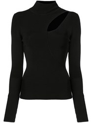 Alice Olivia Sophie Cutout Turtleneck Sweater Black