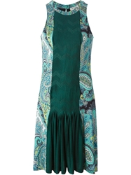 Etro Front Pleat Panel Paisley Dress Green