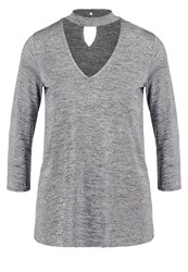 Dorothy Perkins Long Sleeved Top Metallic Silver