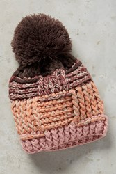 Anthropologie Thatched Pom Beanie Pink