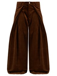 Martine Rose Fold Front Wide Leg Cotton Corduroy Trousers Brown