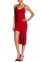 Just Me Asymmetrical Tulip Sheath Dress Red