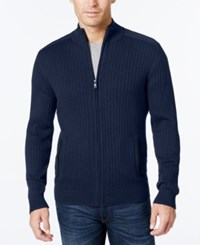 Alfani Men's Ribbed Full Zip Sweater Classic Fit New Navy Heather
