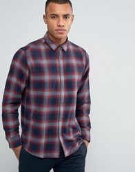 Esprit Regular Fit Long Sleeve Shirt In Flanel Check Cotton Red 600