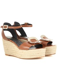 Roger Vivier Corda Leather Espadrille Wedge Sandals Brown