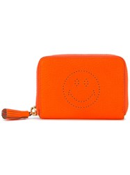 Anya Hindmarch Smile Embossed Wallet Women Leather One Size Yellow Orange