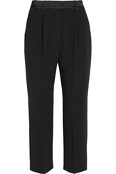 Mcq By Alexander Mcqueen Mcq Alexander Mcqueen Cropped Satin Trimmed Crepe Straight Leg Pants Black