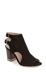 Louise Et Cie Women's 'Vanita' Block Heel Bootie Black Nubuck Leather