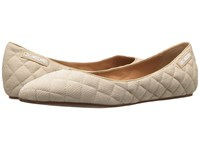 Love Moschino Fabric Quilted Flats Beige Women's Flat Shoes